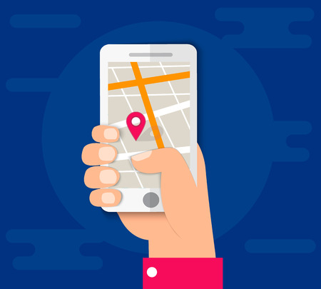 smartphone business: City map on mobile phone, location, hand with smartphone gps navigator city map and pin pointer, roadmap direction