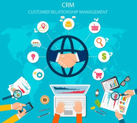 CRM: Gestión de la relación con el cliente. Iconos planos del sistema contable, clientes, soporte, trato. Organización de datos de trabajo con clientes, concepto CRM.