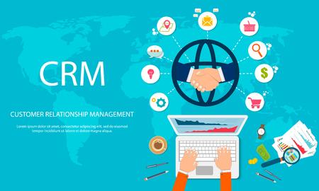 CRM: gestión de relaciones con el cliente. Iconos planos del sistema contable, clientes, soporte, trato. Organización de datos sobre trabajo con clientes, concepto CRM. Ilustración vectorial EPS10 Ilustración de vector