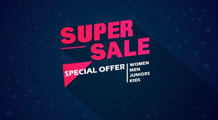 50 off: Super Sale and special offer. 50% off. Vector illustration. Coloured banner