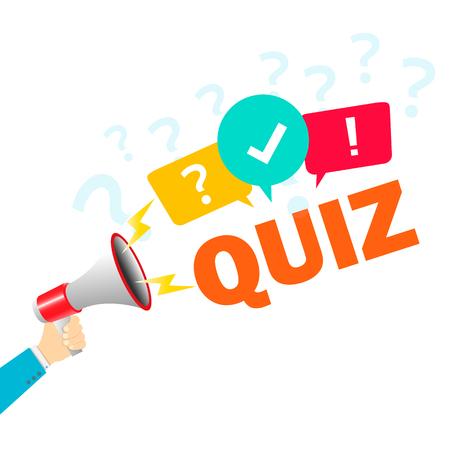 Hand holding megaphone - Quiz. Vector EPS10
