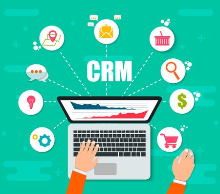 CRM: Customer Relationship Management. Platte pictogrammen van boekhoudsysteem, klanten, ondersteuning, deal. Organisatie van gegevens over werk met klanten, CRM-concept. Vectorillustratie EPS10 Vector Illustratie
