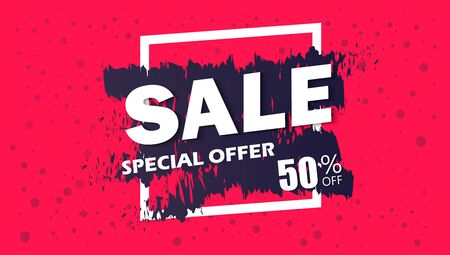 hangers: Super Sale and special offer. 50% off. Vector illustration. Coloured banner