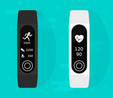Sport bracelet. Fitness band run tracker vector illustration. Flat cartoon wristband with running activity steps counter and heartbeat pulse meter Illusztráció
