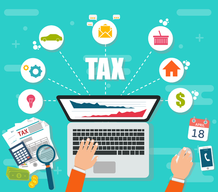 tax accountant: State taxes. Tax payment. Government taxes. Data analysis, paperwork, financial research, report. Businessman calculation tax. Calculation of tax return. Flat design