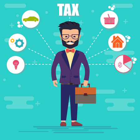 Businessman in suit. Cartoon Handsome successful man dressed in a suit. State taxes. Tax payment. Data analysis, documents, financial studies, report. Calculation of tax return. Illustration