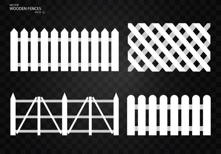 Wooden fence. Set, Isolated on transparent background. EPS10 일러스트