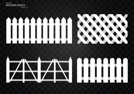 Wooden fence. Set, Isolated on transparent background. EPS10