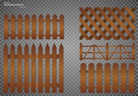 Wooden fence. Set, Isolated on transparent background. EPS10 Illustration
