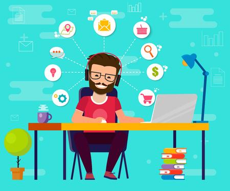 Man working on computer. Work desk, flat cartoon person character, idea of freelancer workplace, online internet conversation image. Vektor EPS10 Illustration