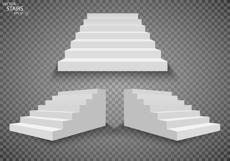 staircases: White stairs, 3d staircases. Set, Isolated on transparent background. EPS10