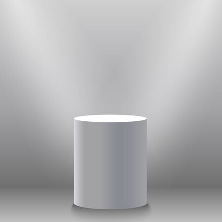 spotlight: Pedestal, white empty 3d podium and spotlights vector illustration. Place for the exhibition. Vector EPS10 Stock Photo