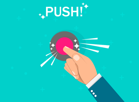 Hand pressing button. Push finger. Flat design. Vector illustration EPS10