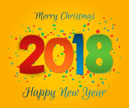 festive occasions: Happy New Year 2018 background. Colorful, hand drawn paper typeface on celebration background. Greeting card. Vector illustration EPS10.