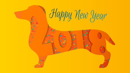 Happy New Year 2018 greeting card. Celebration yellow background with Dog and place for your text. 2018 Chinese New Year of the dog. Vector illustration EPS10. Illustration