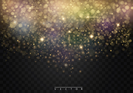 glittery: Vector glamour fashion illustration. Gold glittering star dust trail sparkling particles on transparent background. Illustration