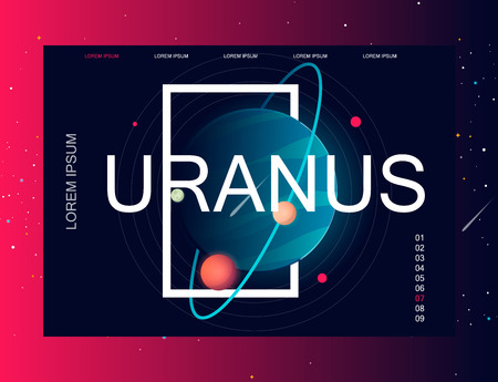 Uranus. Solar system. Colorful planet on a dark background Template for a site. Space background. Concept idea. Modern design. vector illustration. Vectores