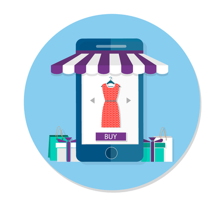 E-commerce, the concept of online shopping for clothes. Smartphone with purchase button and clothes. Modern flat graphic design elements. illustration Illustration