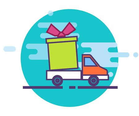 The concept of delivery service. A truck or a cargo van in a modern flat style. Fast delivery of the parcel. vector illustration. Illustration