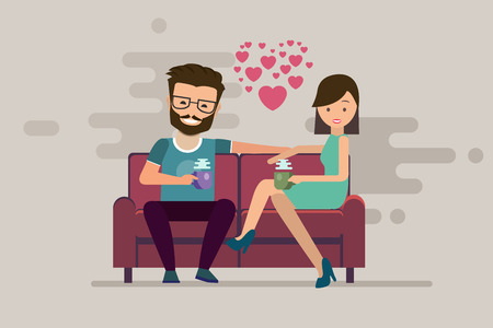 Smiling romantic couple drinking coffee on sofa in their living room. Vector flat illustration