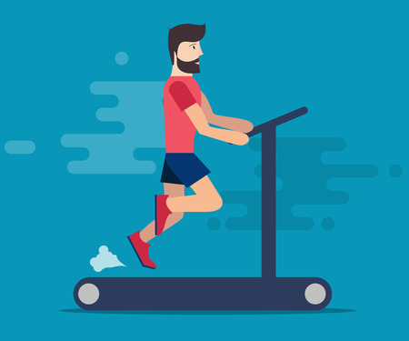 carding: A sporty man with a beard is engaged in a hall on the treadmill. Running, playing sports. The carding of the car. Cartoon style