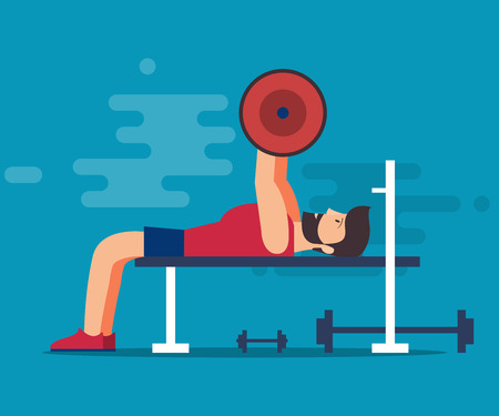 Bench for bench press. A bearded man with a barbell shakes his muscles in the gym. Isolated vector illustration on a blue background.