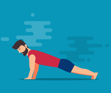 Exercises on the chest. Squeezing from the floor. Flat design. A bearded man in a gym. Isolated vector illustration on a blue background.