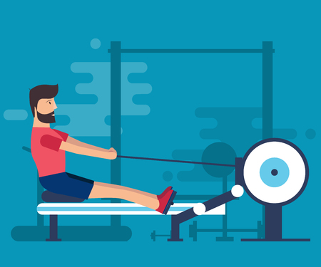 The bearded man goes in for sports in the gym. Isolated vector illustration on a blue background background.