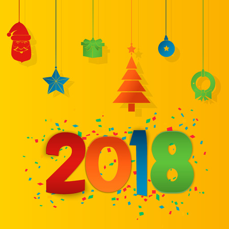 festive occasions: Happy New Year 2018 background. Colorful, hand drawn paper typeface on celebration background. Greeting card. Vector illustration EPS10 Illustration