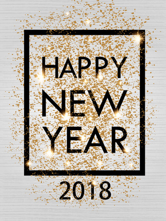 Happy New Year 2018 gold and black color space for text in the frame. Christmas card, banner. Vector illustration