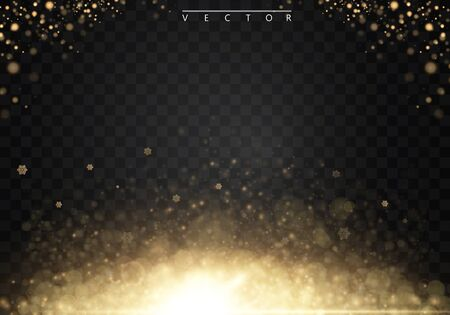 Vector glamour fashion illustration. Gold glittering star dust trail sparkling particles on transparent background. EPS10 Illustration