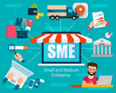 SME ベクターイラスト、中小企業、ビジネスコンセプトの単語レタリングイラスト。ウェブ、アプリバナーデザインのための関連アイコンコンセプトとモダンなスタイルでデザイン。EPS10 ベクターイラストレーション