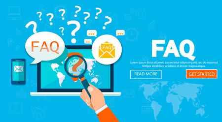 FAQ 웹 사이트 배너. 벡터 일러스트 레이 션 자주 묻는 질문 또는 질문, 고객 또는 고객 지원, 제품 및 서비스 정보에 대한 개념.