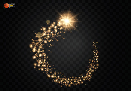 cosmic étincelant bord de l & # 39 ; or . or étincelant étoiles scintillantes particules sur fond transparent . ellipse espace vecteur eps 10