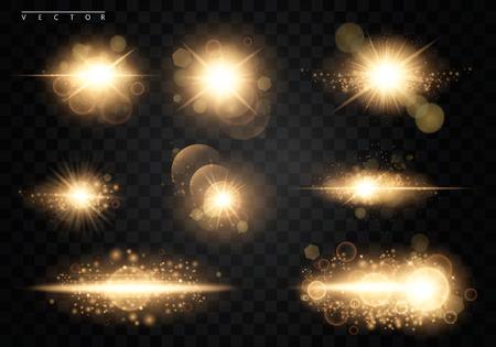 Impostato. Stella brillante, le particelle del sole e le scintille con un effetto di evidenziazione, luci d'oro brillanti e paillettes. Su uno sfondo scuro trasparente. Vettore, EPS10