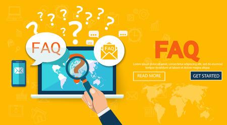 Veelgestelde vragen website banner. Vector illustratie concept voor veelgestelde vragen of vragen en antwoorden, klanten- of klantenondersteuning, product- en service-informatie.