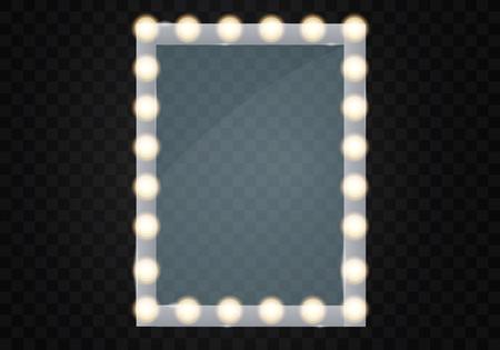 Spieglein Sie im Rahmen mit hellen Make-uplichtern für Umkleideraum oder Hinterzimmer, auf transparenter Hintergrundvektorillustration Vektorgrafik