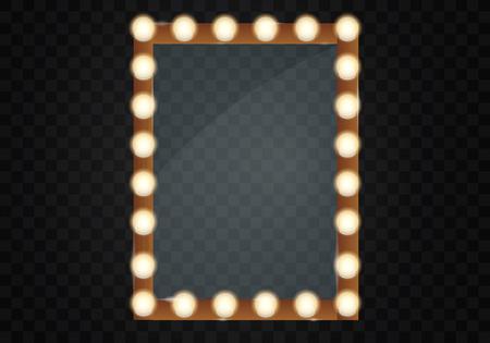 Spiegel in frame met lichte make-uplichten voor veranderende ruimte of achterkamer, op transparante vectorillustratie als achtergrond