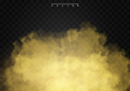 Golden fog or smoke isolated on a transparent background special effect. Golden vector cloudiness, mist or smog background. Vector illustration