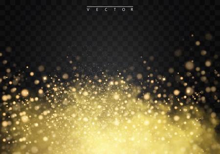 黄金の霧や輝き、光、ボケ、背景が透明な特殊効果に分離された金の火花と煙。黄金のベクトルの曇り、霧、スモッグの背景。ベクトル図