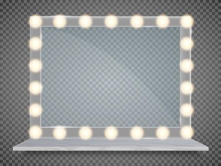 Spieglein Sie im Rahmen mit hellen Make-uplichtern für Umkleideraum oder Hinterzimmer, auf transparenter Hintergrundvektorillustration