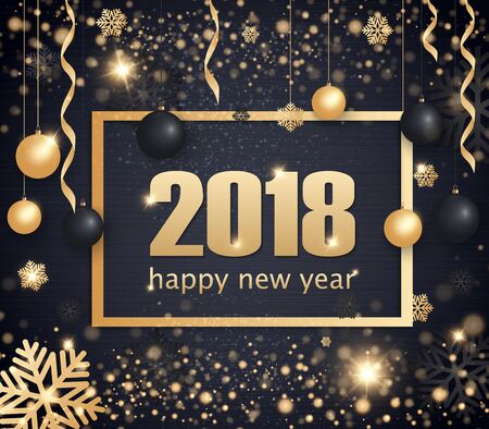 Happy New Year 2018 gold and black color space for text Christmas balls, golden concerts and snowflakes. Golden bokeh, light and ribbons. Vector illustration