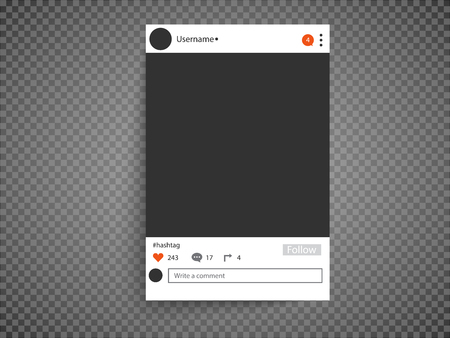 Photo frame inspired by instagram for friends internet sharing. Empty Social network photo frame to use in your design.