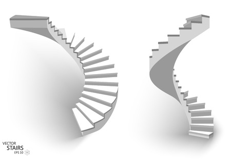 White Spiral staircase, 3d staircases. Set, Isolated on white background.