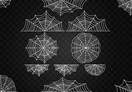 Spider web set. Halloween cobweb vector. Frame border and dividers. Scary design