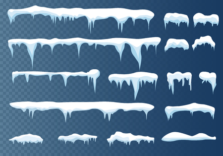 Set of snow icicles vector illustration.