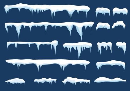 Set of snow icicles vector illustration. Vector Illustration