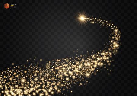 Onda brilhante cósmica. As estrelas douradas brilhantes de ouro espalmam partículas em fundo transparente. Cauda do cometa espacial. Vetor EPS 10 Ilustración de vector