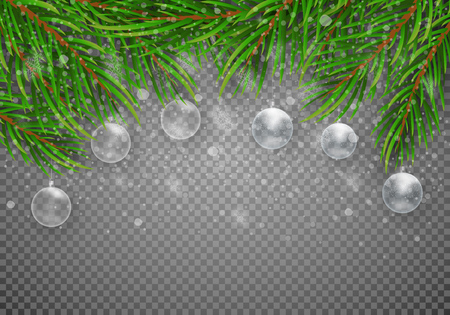 Christmas decorations. Green branches of a Christmas tree with transparent balls on a tree background. Vector Eps10