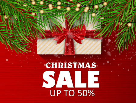 Christmas sale on a beautiful background. Christmas tree and toys, gifts. Vector illustration Illustration
